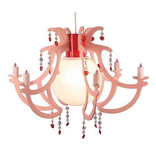 NIERMANN Hängeleuchten »Hängelampe, Kronleuchter, rosa mit Perlen«