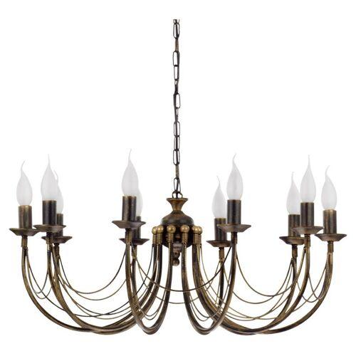 Licht-Erlebnisse Kronleuchter »ARES Kronleuchter Pendelleuchte Braun Antik 10 flammig klassisch Schlafzimmer Lampe«