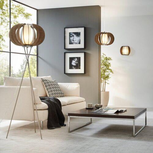 Licht-Trend Stehlampe »Rift Ø 50cm mit Holzschirm braun«