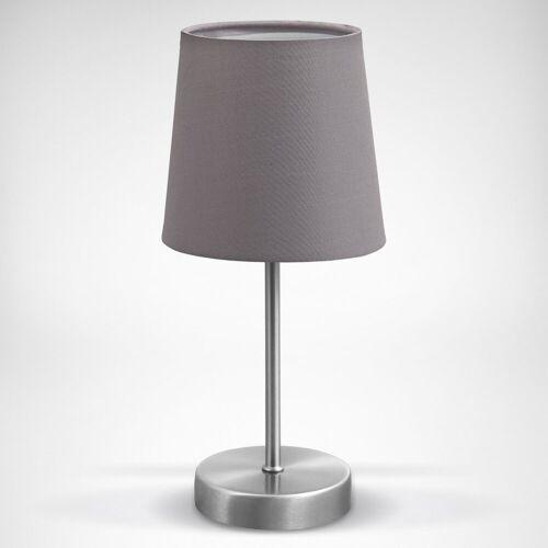 B.K.Licht Tischleuchte, LED Tischlampe Stoff Dekolampe Nachttisch-Leuchte Wohnzimmerlampen E14 grau