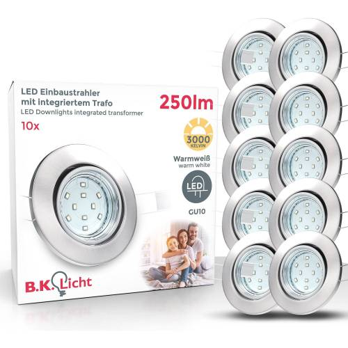 B.K.Licht LED Einbaustrahler, 10er SET LED Einbauspots, schwenkbar, 250lm, 3W