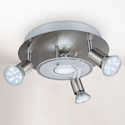 B.K.Licht LED Deckenstrahler, LED Deckenleuchte rund Metall Glas Lampe Wohnzimmer Strahler GU10 inkl. 3W 250lm