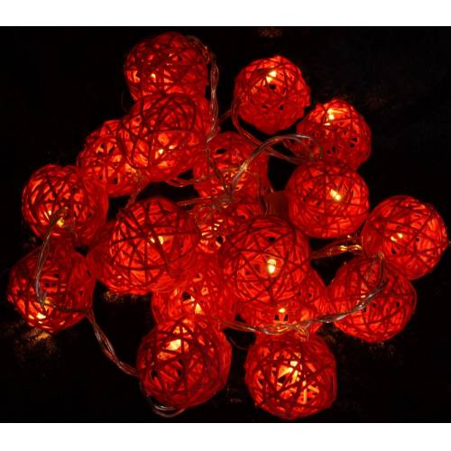 Guru-Shop LED-Lichterkette »Rattan Ball LED Kugel Lampion Lichterkette - rot«, rot