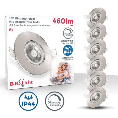 B.K.Licht LED Einbauleuchte, LED Einbaustrahler Bad Spot dimmbar Lampe IP44 5W Spot Strahler 3er SET