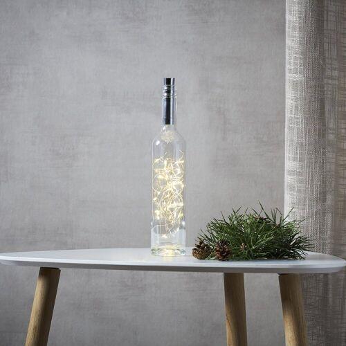 STAR TRADING LED-Lichterkette »LED Drahtlichterkette Korken Flaschenverschluss Tautropfen LED 2m Timer silber«, 40-flammig