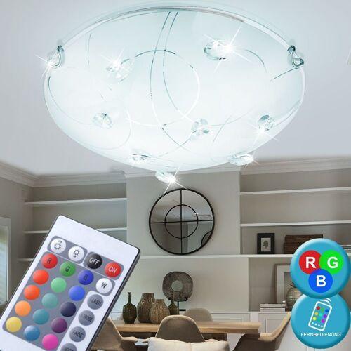 etc-shop Deckenleuchte, RGB LED 18 Watt Decken Leuchte rund Glas Muster Kristalle klar Beleuchtung EEK A