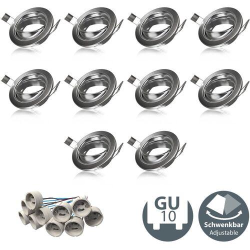 B.K.Licht LED Einbauleuchte, Einbauleuchtenrahmen GU10 10er-Set Einbaustrahler Einbaurahmen schwenkbar