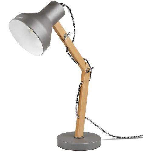 Tomons LED Schreibtischlampe »mit schwenkbaren Holzarmen, Designer Tischlampe, Leselampe, LED Glühbirne enthalten«, Grau