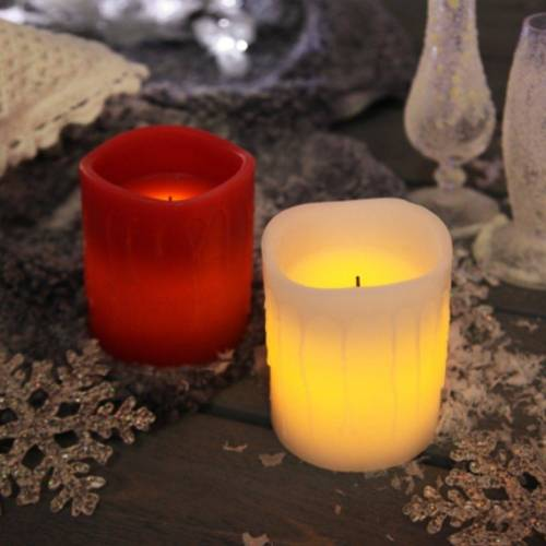 STAR TRADING LED-Kerze »LED Kerze Drip - Echtwachs - flackernde LED - Timer - H: 10cm - rot«