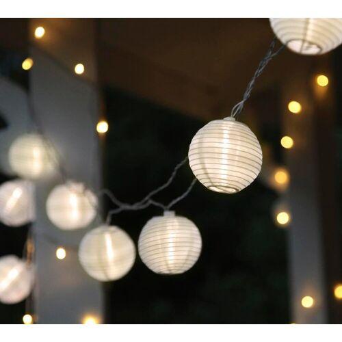 STAR TRADING LED-Lichterkette »LED Lichterkette 10 weiße Lampions mit warmweißen LED - 4,5m - inkl. Trafo - 10m Kabel«, 10-flammig