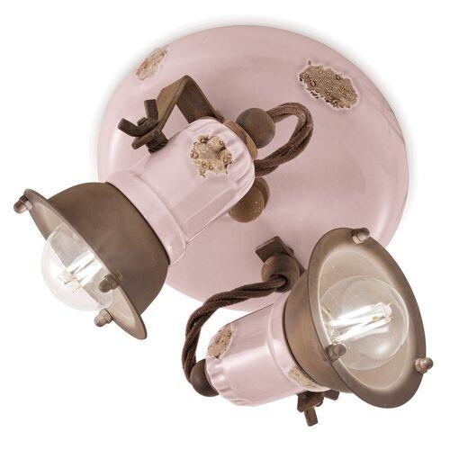 Ferroluce LED Deckenstrahler »Loft Deckenstrahler 2 flammig Rosa«