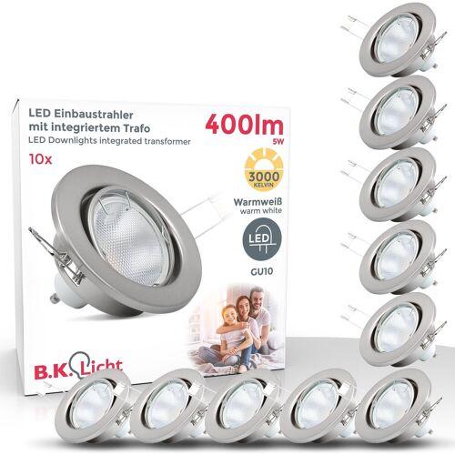 B.K.Licht LED Einbaustrahler, LED Einbauspots 10er SET mit GU10 Leuchtmitteln