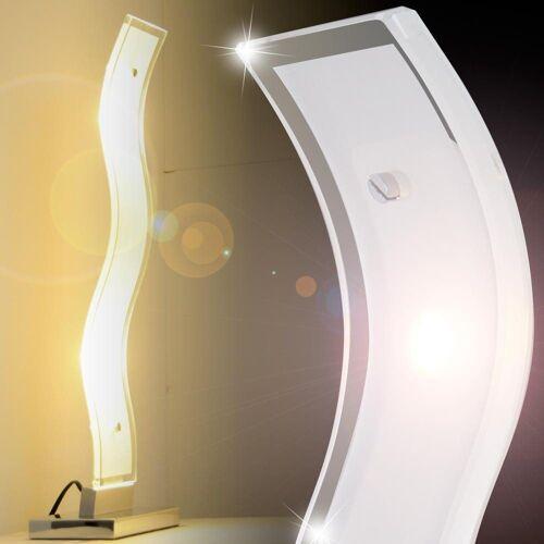WOFI LED Tischleuchte, 10W LED Tischleuchte Tisch Lampe Wohnzimmer Chrom GENEVE 8684.02.01.0000