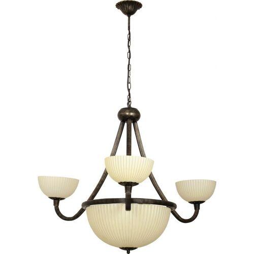 Licht-Erlebnisse Kronleuchter »BARON Kronleuchter Wohnzimmer Creme Braun Antik Metall Glas Vintage Lampe«