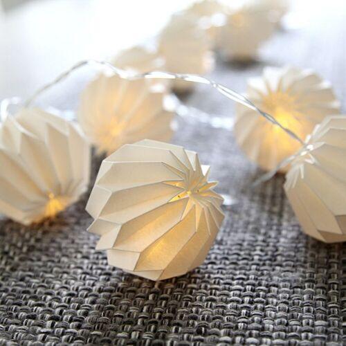 STAR TRADING LED-Lichterkette »LED Origami Lichterkette - 10 weiße Papierblumen - warmweiße LED - 2,25m - Batterie - Timer«, 10-flammig