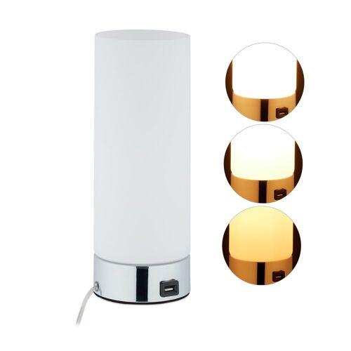 relaxdays Nachttischlampe »Dimmbare Nachttischlampe mit USB«