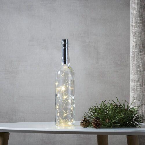 STAR TRADING LED-Lichterkette »LED Drahtlichterkette Korken Flaschenverschluss Tautropfen LED 75cm Timer silber«, 15-flammig