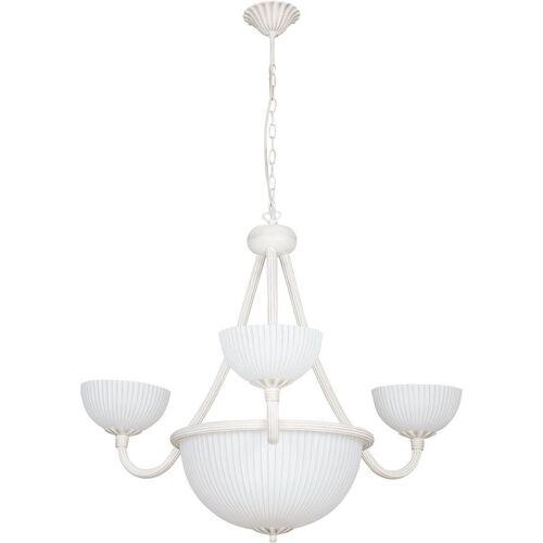 Licht-Erlebnisse Kronleuchter »BARON Kronleuchter Shabby Chic Gold Weiß Metall Glas Esstisch Lampe«