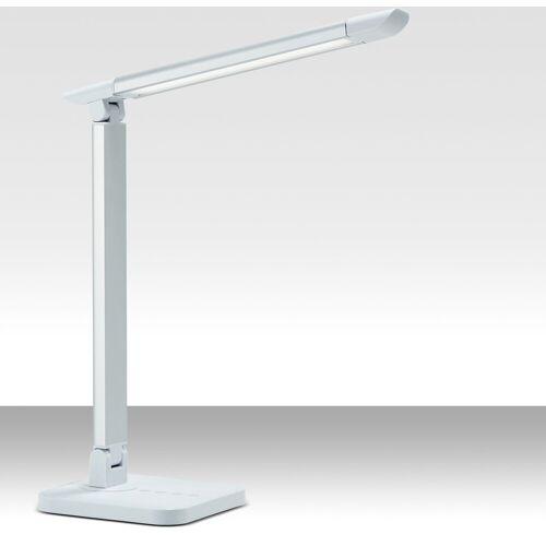 B.K.Licht LED Schreibtischlampe, LED Schreibtischleuchte dimmbar weiß Kunststoff schwenkbar mit USB inkl. 7W 500lm