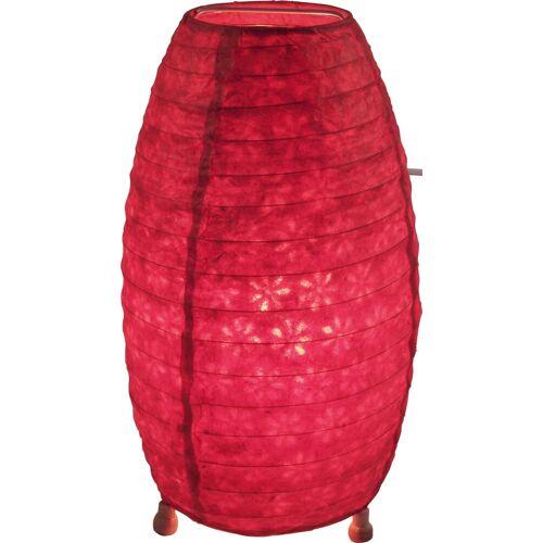 Guru-Shop Tischleuchte »Corona Lokta Papier Tischlampe 30 cm«, rot