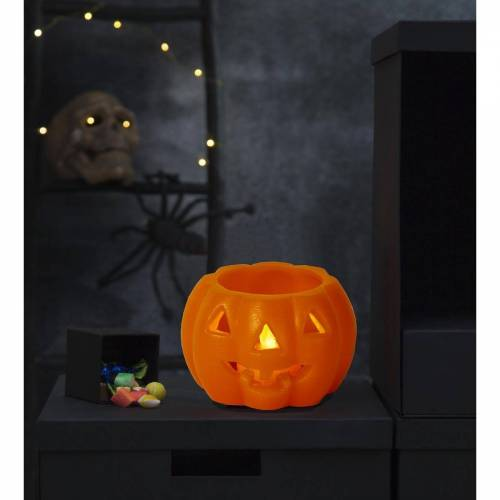 STAR TRADING LED-Kerze »LED Kerze/Teelicht Halloween - Kürbis - Echtwachs - gelbe LED - H: 6,5cm, D: 9,5cm - orange«