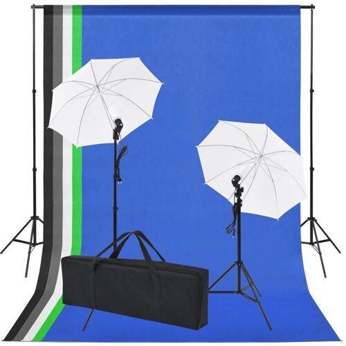 vidaXL Hintergrundtuch »Fotostudio-Set: 5 Bunte Hintergründe & 2 Schirme«