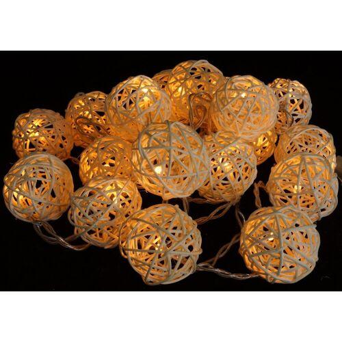 Guru-Shop LED-Lichterkette »Rattan Ball LED Kugel Lampion Lichterkette -..«, natur