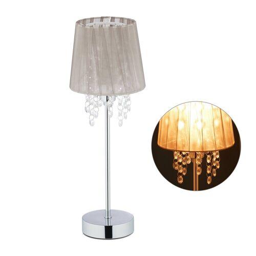relaxdays Tischleuchte »Tischlampe Organza Kristall«