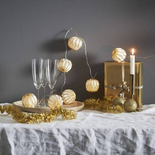STAR TRADING LED-Lichterkette »LED Origami Lichterkette - 10 weiß/goldene Papierblumen - warmweiße LED - 2,25m - Batterie - Timer«, 10-flammig