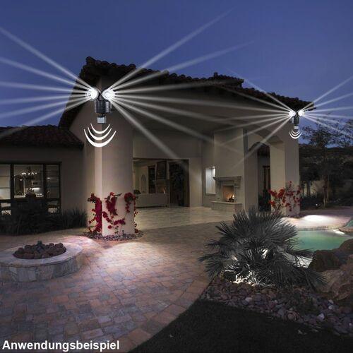 etc-shop LED Baustrahler, 2er Set LED Solar Wand Lampen Sensor Strahler Außen Park Leuchten schwarz IP44