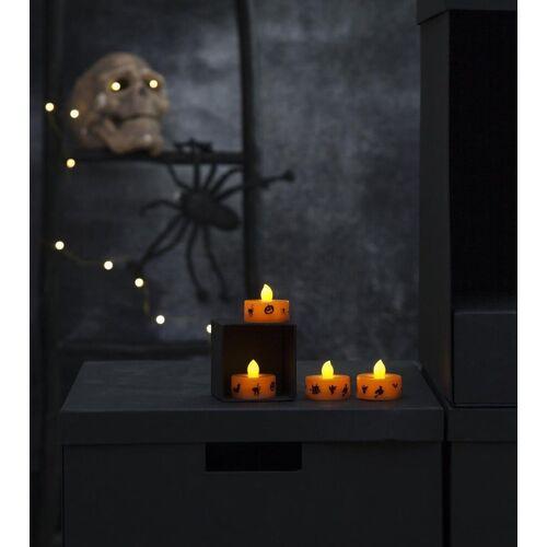 "STAR TRADING LED-Kerze »LED Teelichter ""Halloween"" - gelbe Flamme - H: 3cm - D: 4cm - Batteriebetrieb - orange - 4er Set«"