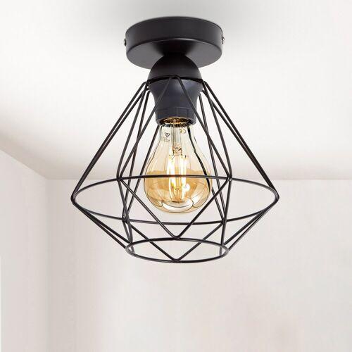 B.K.Licht Deckenleuchte, LED Deckenlampe schwarz Metall Draht Vintage Industrielampe Retroleuchte E27 Käfig