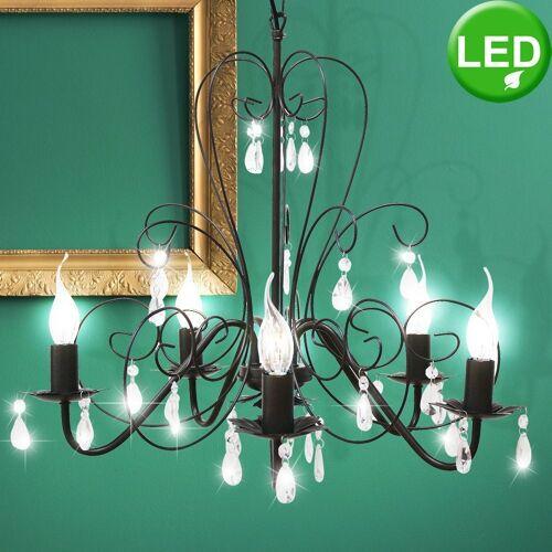 etc-shop Kronleuchter, Vintage Pendel Lampe Kronleuchter Esszimmer Luster Kristalle klar im Set inkl. LED Leuchtmittel
