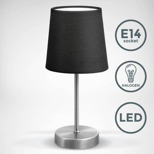 B.K.Licht Tischleuchte »BKL1301«, LED Nachttischlampe mit Schalter E14 IP20 Stoff weiß matt-nickel