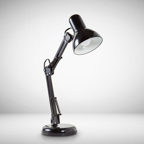 B.K.Licht Schreibtischlampe »Draco«, LED Tischlampe schwarz Metall Retro Schreibtisch-Leuchte drehbar & schwenkbar E14