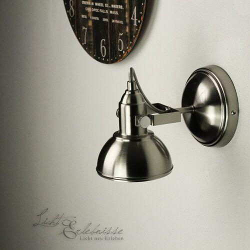 Licht-Erlebnisse Deckenstrahler »GINA Wandlampe Retro Deckenstrahler Nickel schwenkbar E14 Lampe«