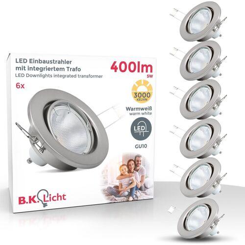 B.K.Licht LED Einbaustrahler, LED Einbauspots 6er Set mit GU10 Leuchtmitteln