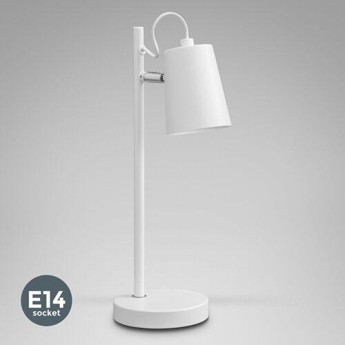 B.K.Licht LED Tischleuchte, LED Tischlampe Weiß Leselampe Schreibtisch-Lampe Schwenkbar E14