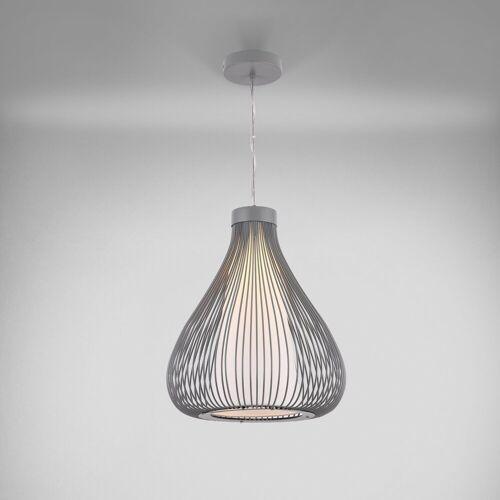 lux.pro Hängeleuchte, Moderne Hängeleuchte »Nizza« [Grau] mit Lampenschirm im Drahtkorb, grau
