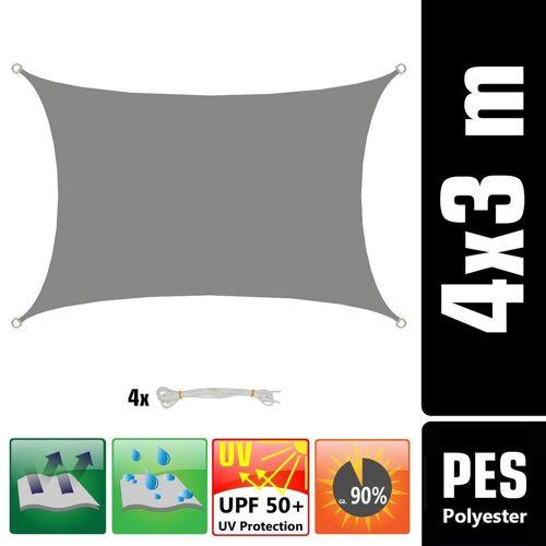 AMANKA Sonnensegel »UPF50+ UV Sonnensegel Wasserabweisend Wetterfest«, 3x4m Rechteck grau