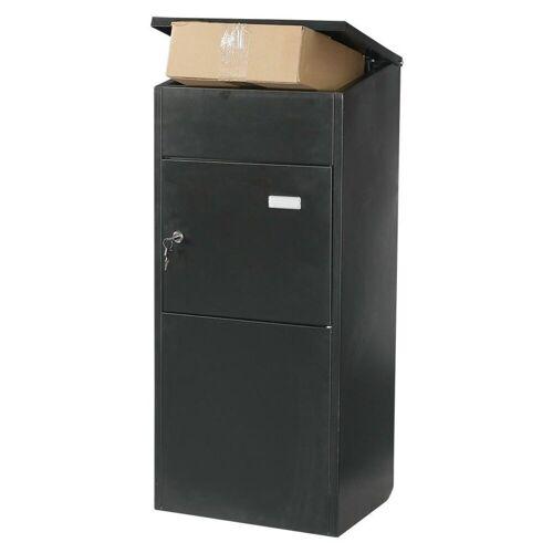 dynamic24 Briefkasten, Paketbriefkasten Stahl Briefkasten Paket Packstation Paketkasten Paketbox Kasten schwarz