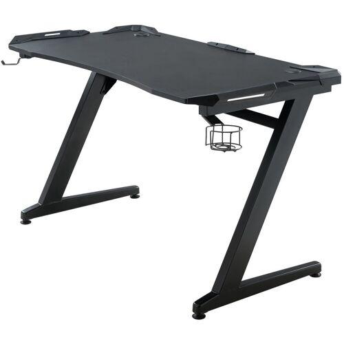 CLP Schreibtisch »Rockford«, mit integrierten rotleuchtenden LED, schwarz/schwarz