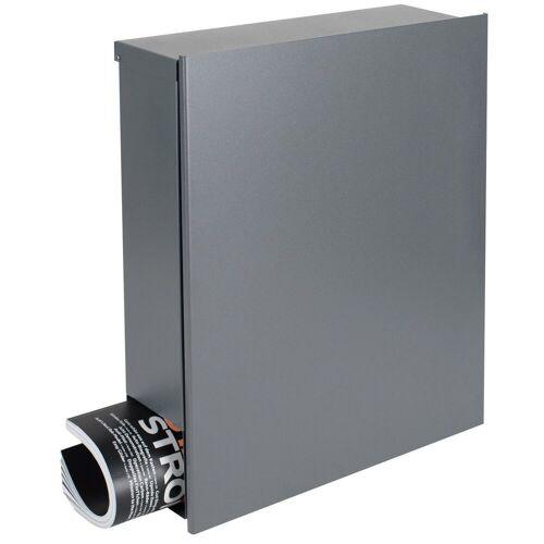 MOCAVI Briefkasten »Design-Briefkasten mit Zeitungsfach grau-aluminium (RAL 9007) Box 111 Wandbriefkasten 12 Liter«