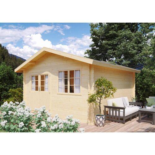 Kiehn-Holz Set: Gartenhaus »Lillevilla 280«, BxT: 437x432 cm, Fensterläden, Blumenkasten + Fußboden, natur