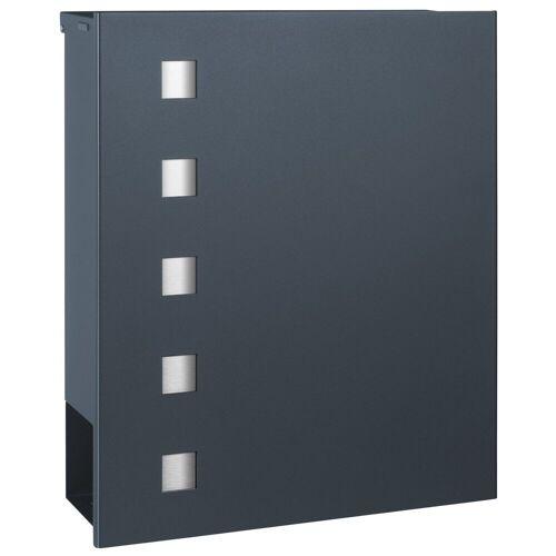 MOCAVI Briefkasten »Box 121 Briefkasten mit Zeitungsfach anthrazit-grau (RAL 7016) mit Edelstahl-Design«, Aufputzbriefkasten