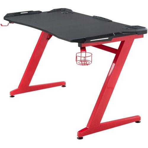 CLP Schreibtisch »Rockford«, mit integrierten rotleuchtenden LED, schwarz/rot