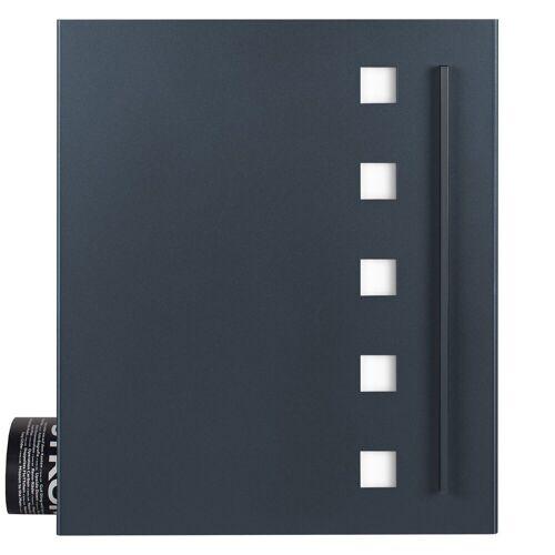 MOCAVI Briefkasten »Box 120 Briefkasten mit Zeitungsfach anthrazit-grau (RAL 7016) mit Edelstahl-Design«, Aufputzbriefkasten