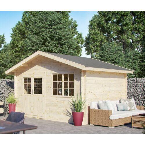 Kiehn-Holz Set: Gartenhaus »Lillevilla 279«, BxT: 437x331 cm, inkl. Blumenkasten und Fußboden, natur