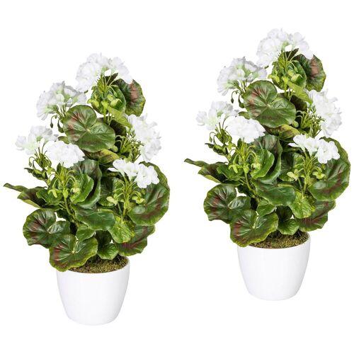 Gasper Kunstpflanze »Geranienbusch weiß«, 2er Set im Keramiktopf, H: 40 cm, weiß