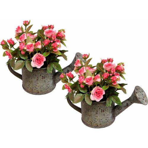 I.GE.A. Kunstpflanze »Wildrosen in Gießkanne« (2er Set)«, , Höhe 19 cm, rosa